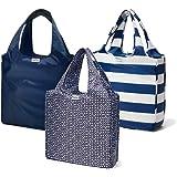 RuMe Bags Medium shopping Tote Bags Trio (Set of 3) (Navy, Baker, Taylor)
