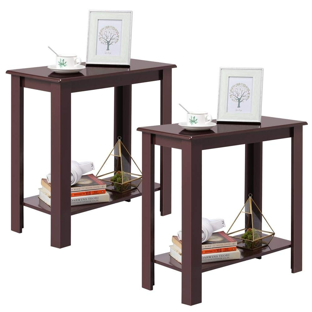 Yaheetech 2Pcs Wooden Tall End Table Multi-Purpose Small Space Table Narrow Side End Table, Wine Red