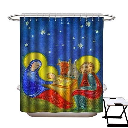 Amazon Niomhdos Home Decor Shower Curtain Christmas Nativity