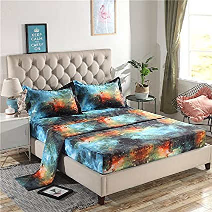 Juwenin Home,Galaxy 3D Printing Bed Sheet Bedding Set, 100% Soft Microfiber  Fitted