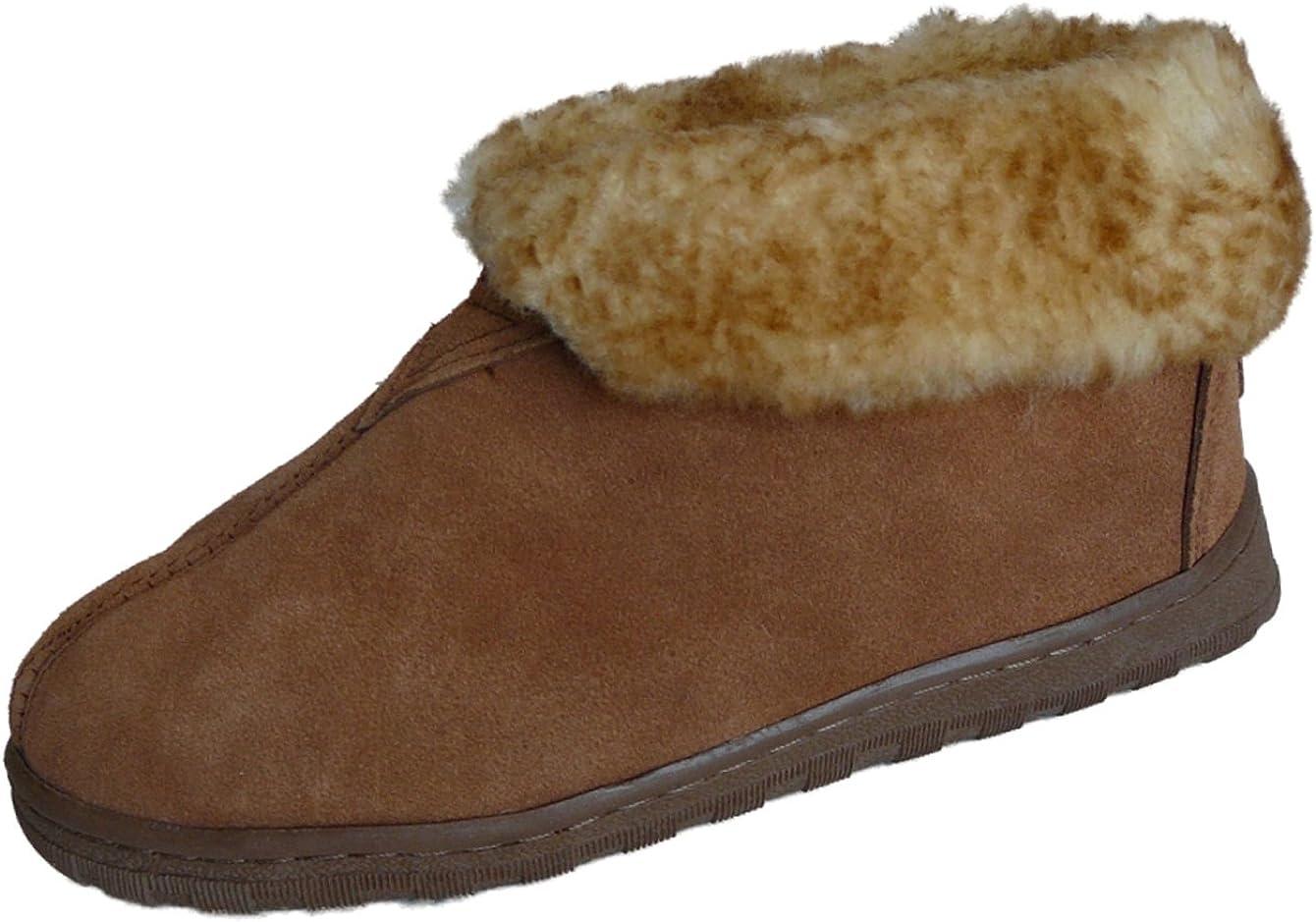 Ladies SHEEPSKIN Slippers Winter Womens HandMade Full Ankle Fluffy Wool Size 3-8