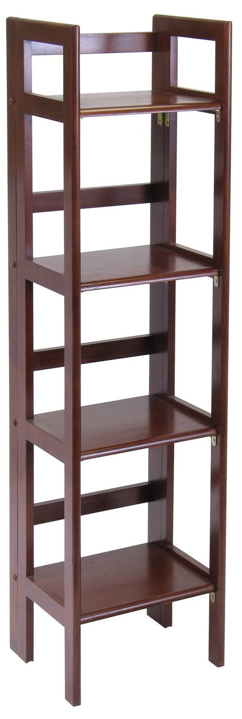Winsome Wood Folding 4-Tier Shelf, Antique Walnut