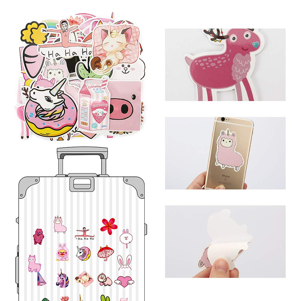 Bosiwee Cute Pink Cartoon Stickers Waterproof Removable Vinyl Party Favors Decal Stickers for Girl Birthday Supplies Decorations 50 PCS Pink Lollipop Laptop Sticker