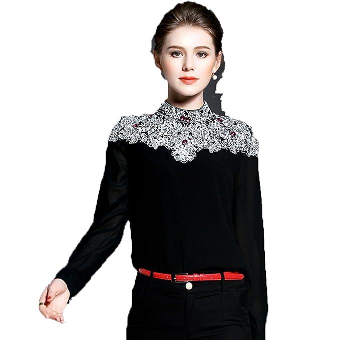 PINGMING Moda Europeas Y Americanas Nuevas Mujeres De La Camisa De Perlas Negro,S-
