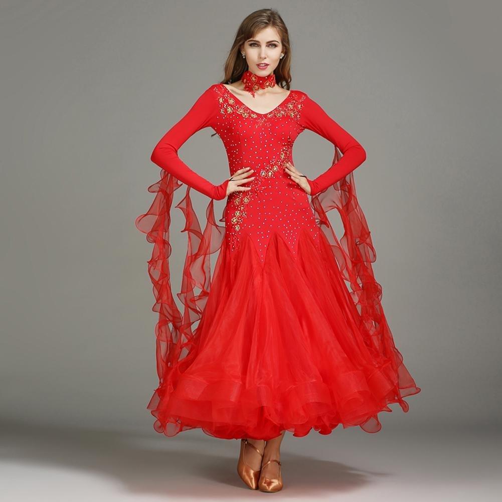 Modernes Tanz Outfit Für Frauen Frauen Frauen Lange Ärmel Walzer Kleider Wettbewerb Kleidung B07BHNQR27 Bekleidung Die Farbe ist sehr auffällig 46381e