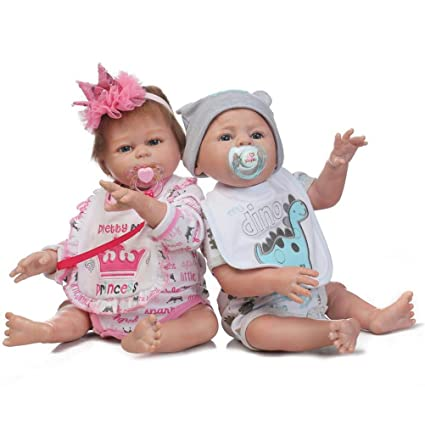 f45d283df84c Image Unavailable. Image not available for. Color  Evursua Anatomically  Correct Reborn Twins Dolls Real Lifelike Babies Boy and Girl Full Body  Silicone