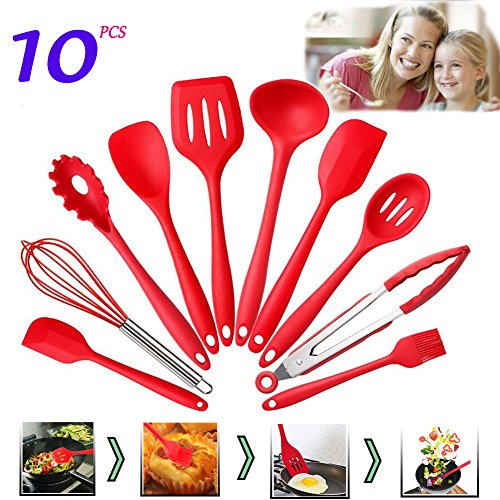 Set of 10 Pieces Silicone Kitchen Cooking Utensils With Hygienic Solid Coating,Heat Resistant Baking Spoonula,Brush,Whisk,Large & Small Spatula,Ladle,Slotted Turner and Spoon,Tongs,Pasta Fork (Red) (Spoonula Large)