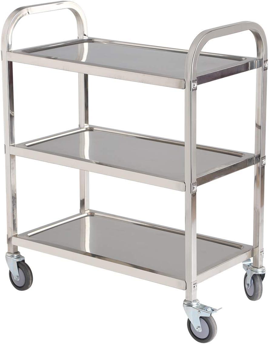Amarite 3 Shelf Utility cart on Wheels198 lbs Multi-Functional Stainless Steel Trolley, Household, Service Trolley,3035.515.8 Inch.