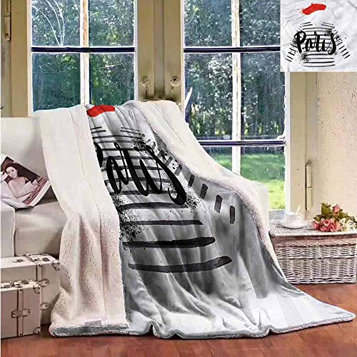 - Sunnyhome Fleece Blanket Girls French Beret Striped Sweater Reversible Blanket for Bed and Couch W59x47L