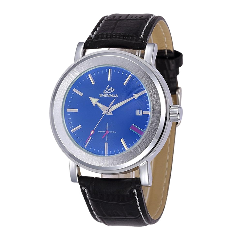 SHENHUAファッションメンズコーティングガラスAuto Mechanicalレザー/ステンレススチールストラップカジュアルスタイル腕時計 B06Y3T76C6