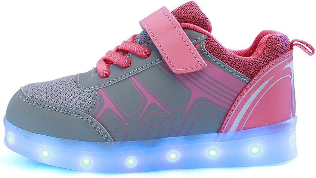 You yanchun USB Charging Children Boys Shoes Led Light Glowing Luminous Sneakers Kids Shoes Pink 35