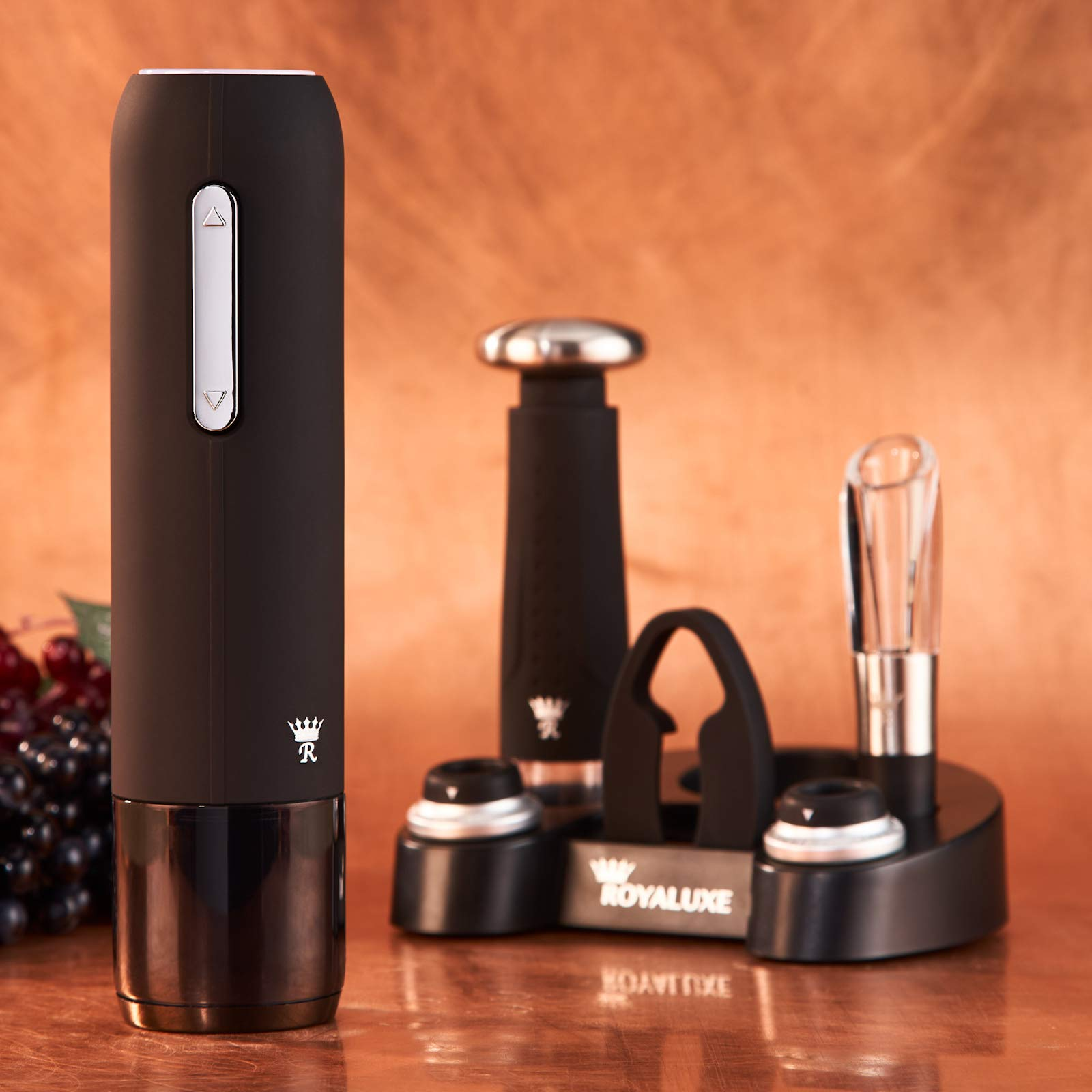 Royaluxe - Deluxe 7 Piece Electric Wine Opener Gift Set | Rechargeable Wine Bottle Opener with Aerator, Premium Wine Preservation Vacuum System, 2 Bottle Stoppers, Foil Cutter & Charging Base | Elegant Matte Black Finish with Stainless Steel Accents by Royaluxe (Image #8)