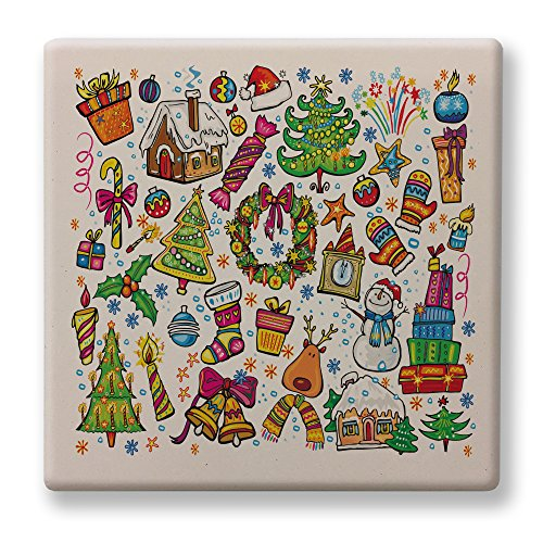 Deluxe Four Coaster Set Sandstone With A Collage of Christmas (Shrek Ginger Bread Man)