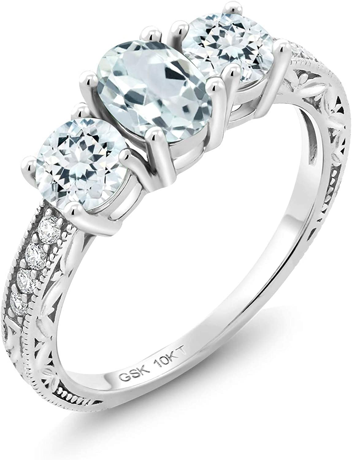 Gem Stone King 10K White Gold Sky Blue Aquamarine and Lab Grown Diamond 3  Stone Women's Engagement Ring (1.79 Cttw, Available in size 5, 6, 7, 8, 9)  | Amazon.com