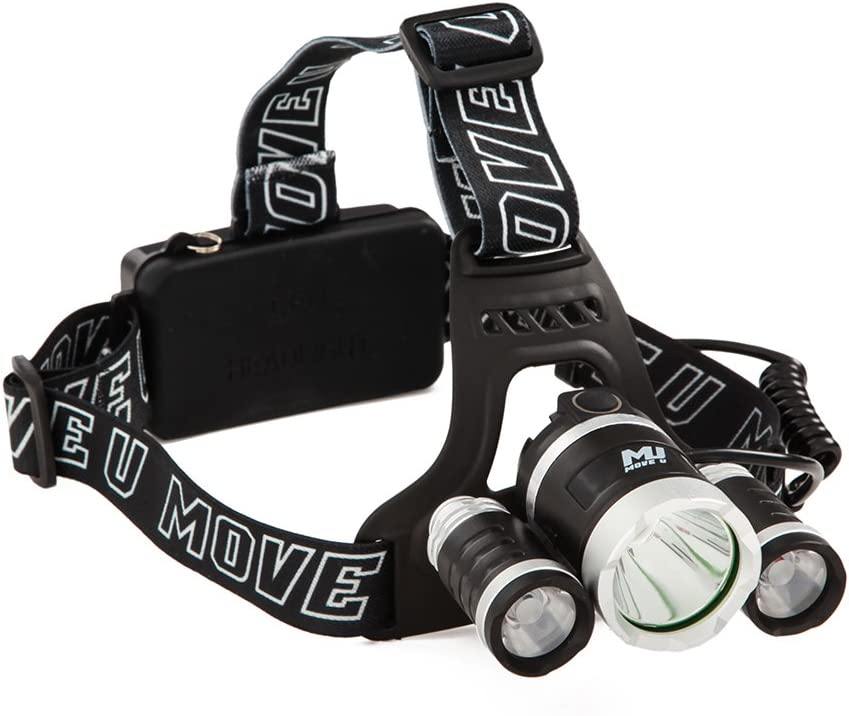 MoveU T5000 Outdoors 5000 Lumen CREE XM-L T6 Rechargeable LED Camping, Running, Cycling Headlamp Black One Size