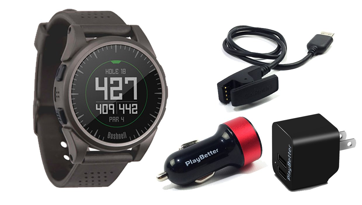 Bushnell Excel (Charcoal) Golf GPS Watch   Power Bundle with PlayBetter USB Car & Wall Charging Adapter   Color Display, 35,000+ Worldwide Courses
