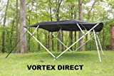 BLACK VORTEX BRAND SQUARE TUBE FRAME 4 BOW BIMINI TOP 8' LONG, 91-96
