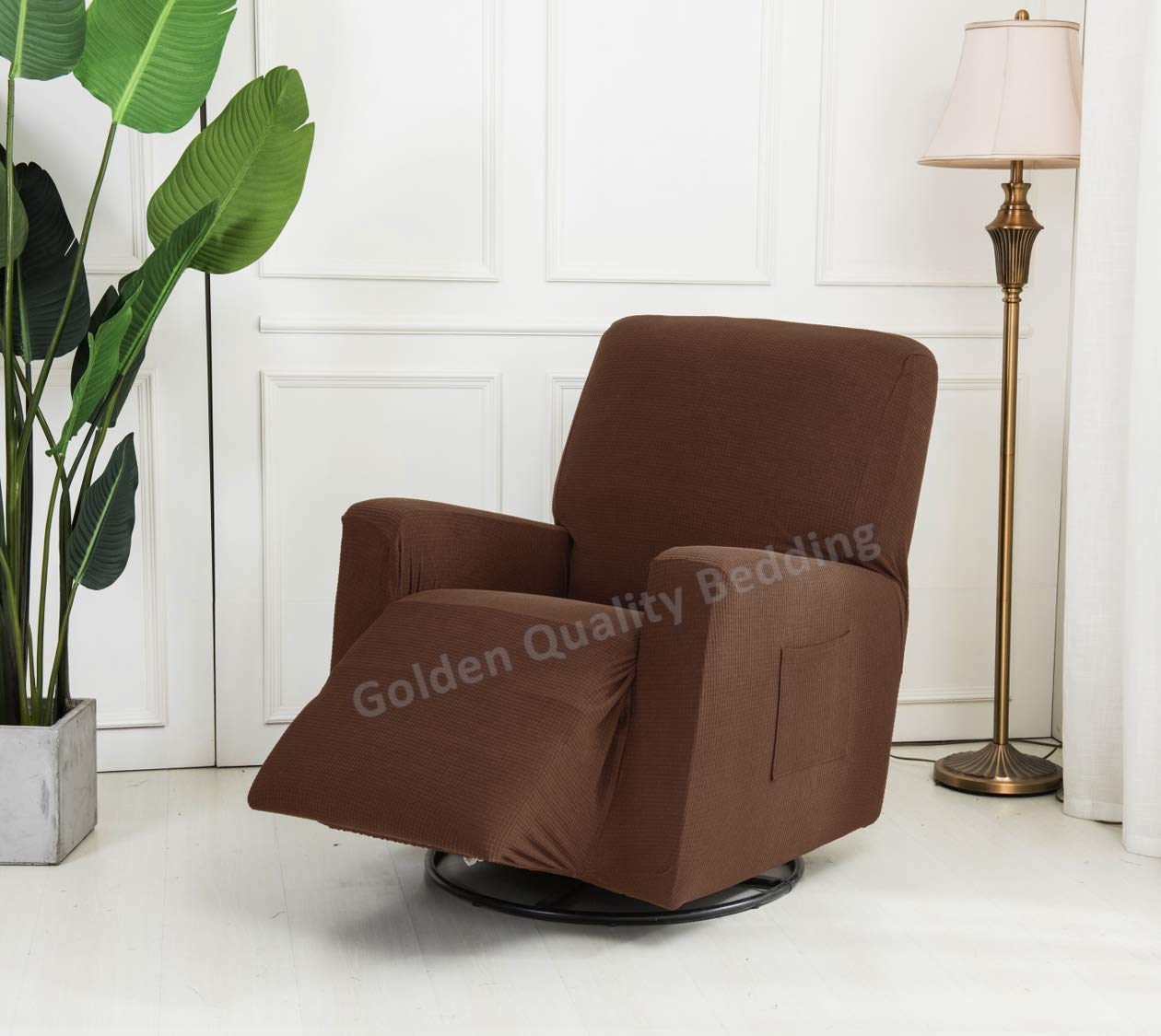 Golden Quality Bedding Stretch Recliner Slipcover One Piece Furniture Protector with Elastic Straps and Pocket Polyester Spandex Supersoft Non-Brushed Fabric Fits Most Recliner Sizes (Black)