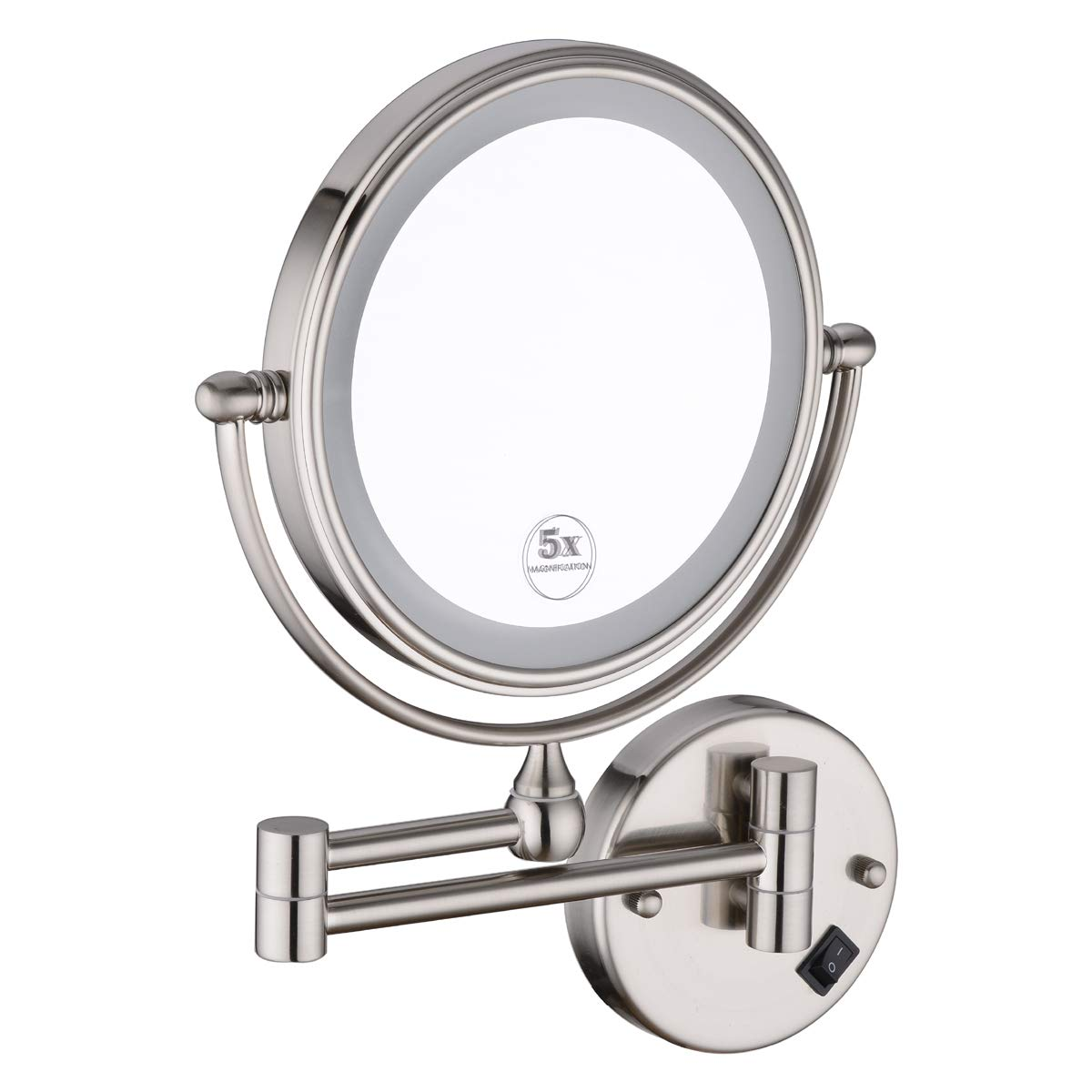 Anpean 8 Inch LED Lighted Hardwired Wall Mount Makeup Mirror with 5x Magnification, Brushed Nickel