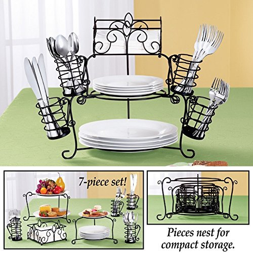 (CTD Store Elegant 7 Pieces Wrought Iron Buffet Convenient ,Stackable ,Smart, Eye Catching Saving Space Caddy)