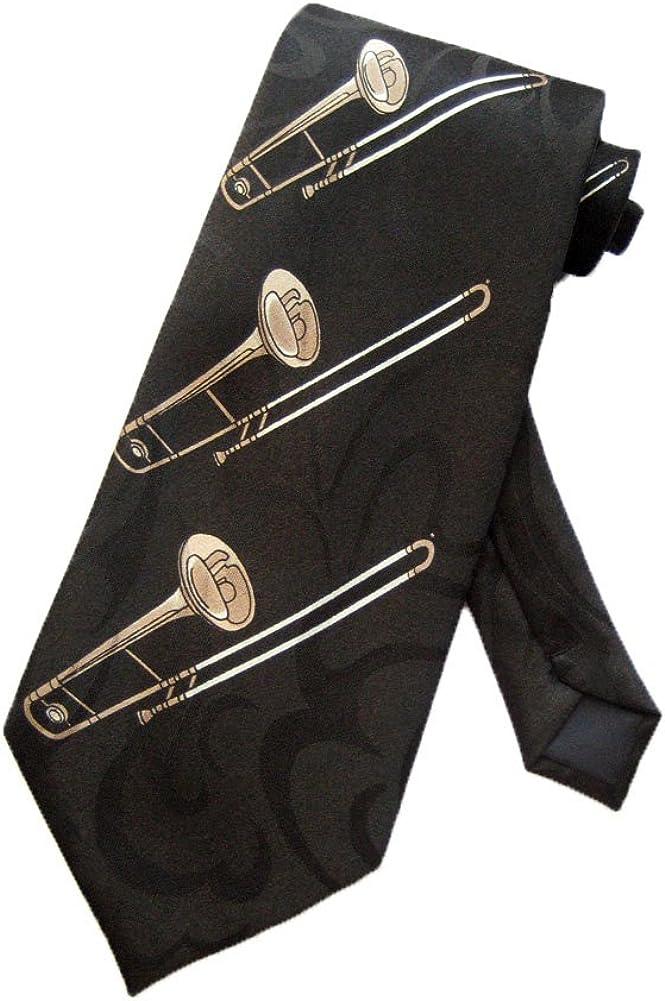 Steven Harris Mens Trombone Jazz Music Necktie One Size Neck Tie Black