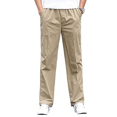 super popular 95755 9496b Gmardar Pantalones Hombre Pantalón Casual para Hombre de Algodón con  Bolsillos Laterales y Cinturón Ajustable