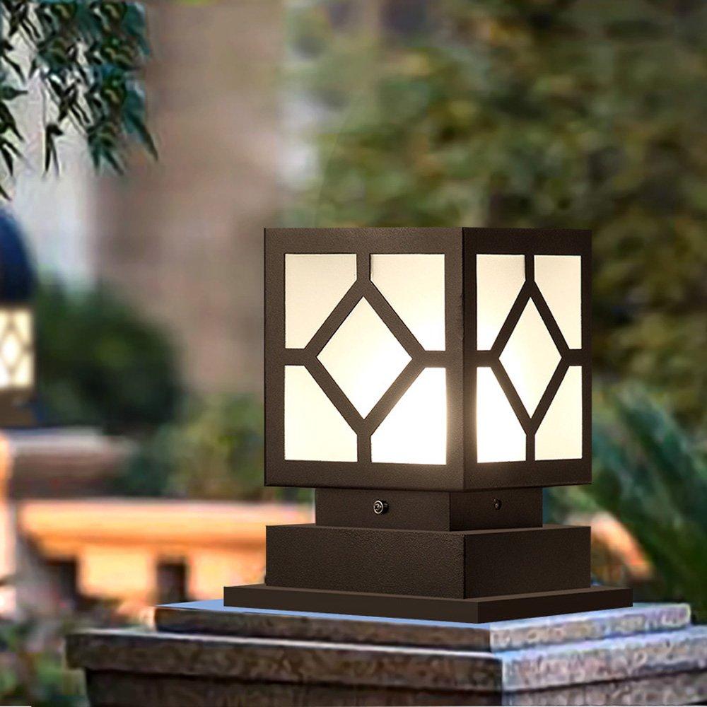 CGJDZMD Outdoor Glass Post Lights Waterproof Pillar Lamp Street Light Creative Industry Black Decoration Column Lamp Aluminum Patio Garden Villa Door Patio Lighting