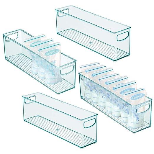 mDesign Juego de 4 cajones de plástico sin BPA para Alimentos ...