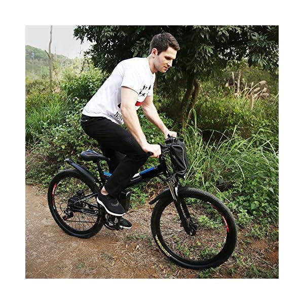 AMDirect Bicicletta da Montagna Elettrica Pieghevole con Ruote di 26 Pollici Batteria Litio di Grande Capacità 36V 250W… 7 spesavip