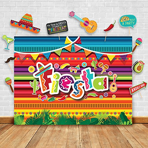 Summer Fiesta Theme Photography Backdrop and Studio Props DIY Kit. Great as Mexican Dress-up Photo Booth Background, Pool Birthday Party Supplies and Luau Event Decorations]()