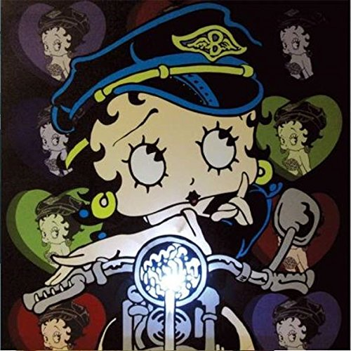 Betty Boop Canvas Printed - Westland Giftware Lighted Canvas Wall Art, Biker Betty, 15 by 15