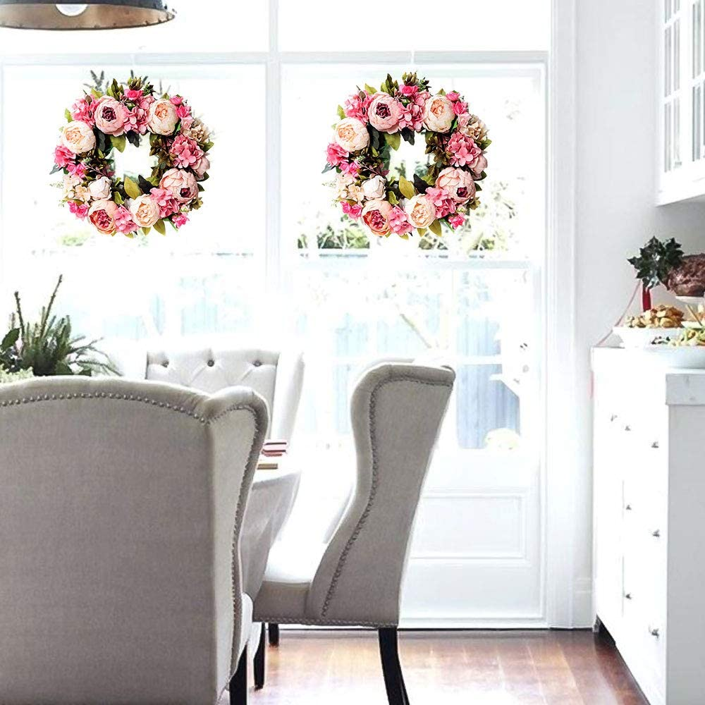 Junejour 15 Artificial Peony Wreath Pink Flower Door Wreath with Green Leaves Spring Wreath for Front Door Decor Wedding Wall Home Decoration