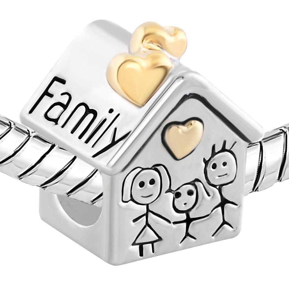 Cuenta Uniqueen con dise/ño de casa y familia compatible con pulseras Chamilia y Troll
