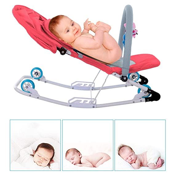 Arkmiido Compact Foldable Baby Rocker with Toy Bar, Baby Bouncer and 3 Modes of Use (Red)