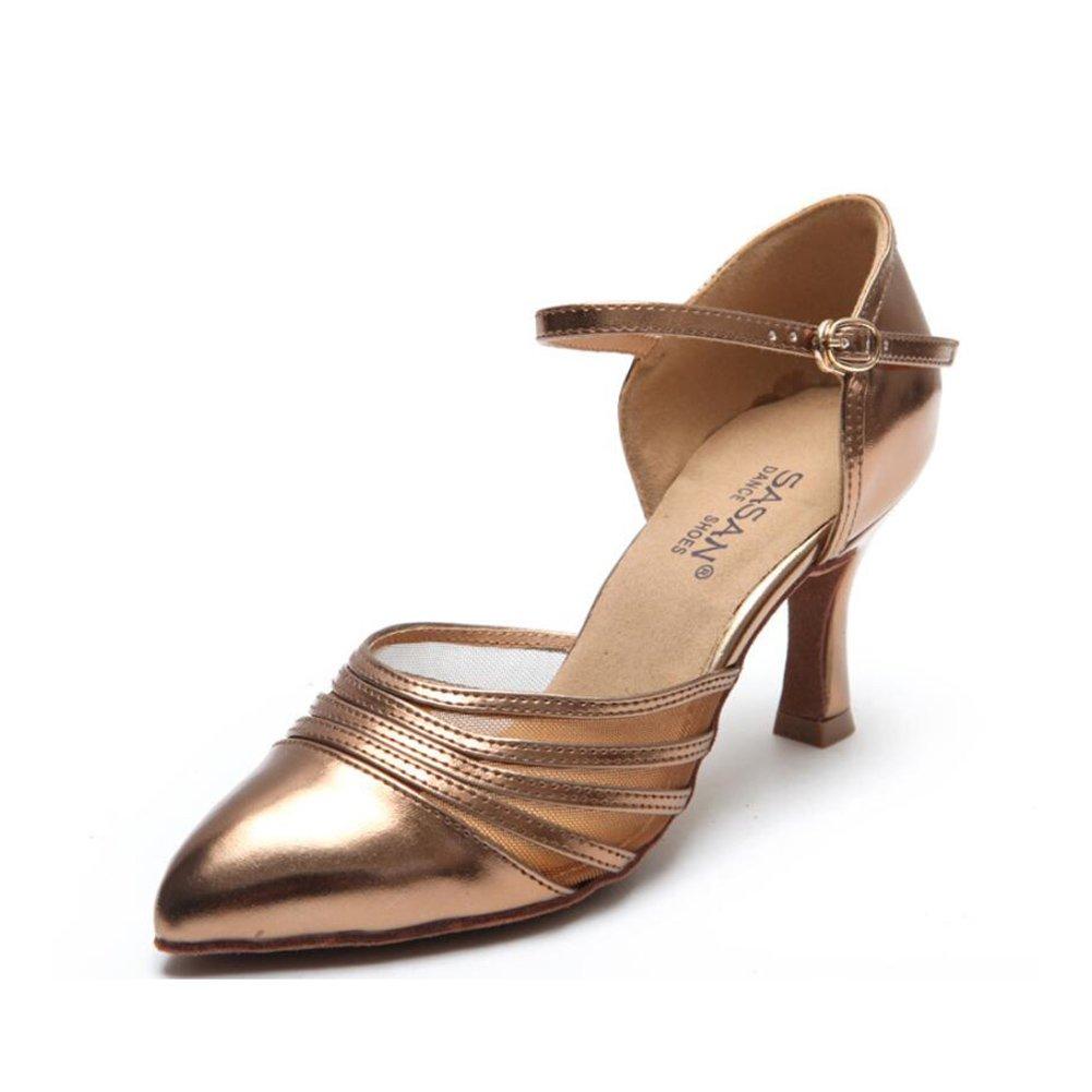 XUEXUE Women's Latin Shoes/Salsa Shoes Ballroom Shoes Sandal PU Heel Dance Shoes Party & Evening Bronze, Black (Color : A, Size : 39)