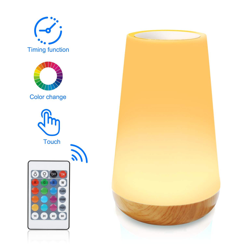 Lampe de Chevet LED Tactile Sensitive Veilleuse de Nuit avec 4 Niveaux de Lumière Blanche Réglable et Changement de 13 Couleurs RGB 4 types de mode de Chronométré, conversion à distance de 6m