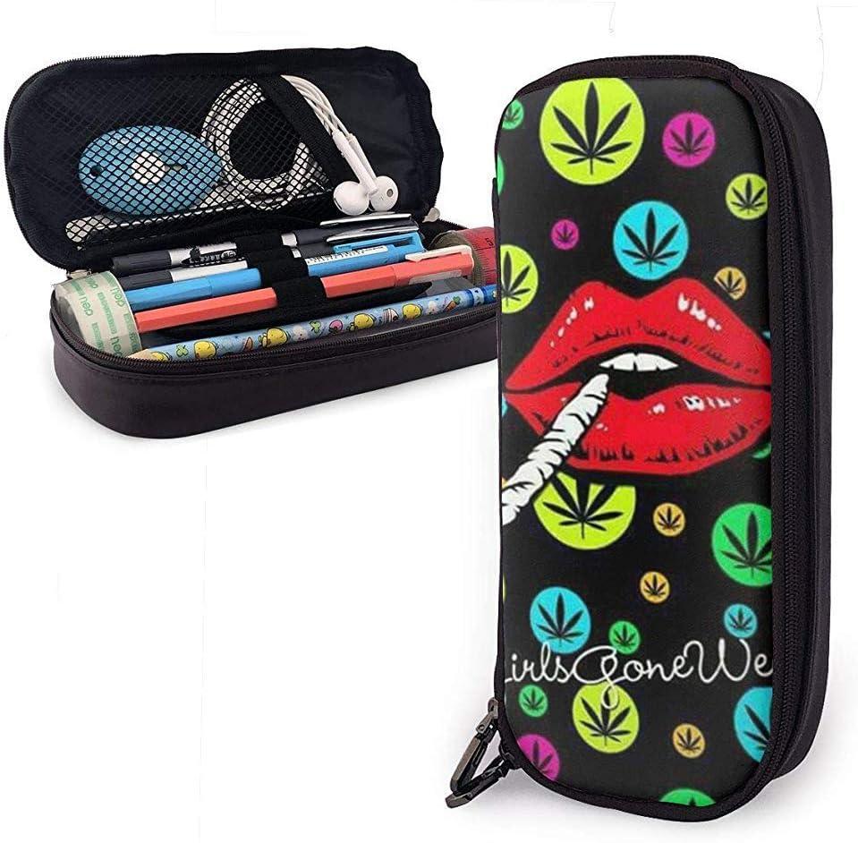 Estuche de lápices de cuero, hoja de hierba de marihuana colorida y estuche de lápiz labial para fumar Estuche de papelería Bolsa de cremallera Estuche de lápices