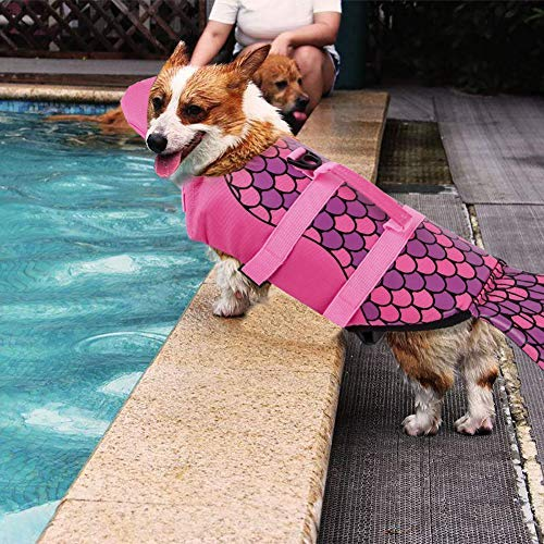 Picture of PETCEE Mermaid Life Jacket Dog Quick Release Easy-Fit Adjustable Life Jackets for Small Dogs (Pink, XS)