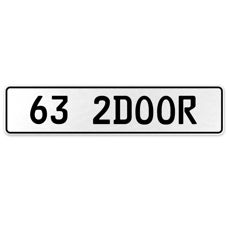 Vintage Parts 557927 63 2DOOR White Stamped Aluminum European License Plate