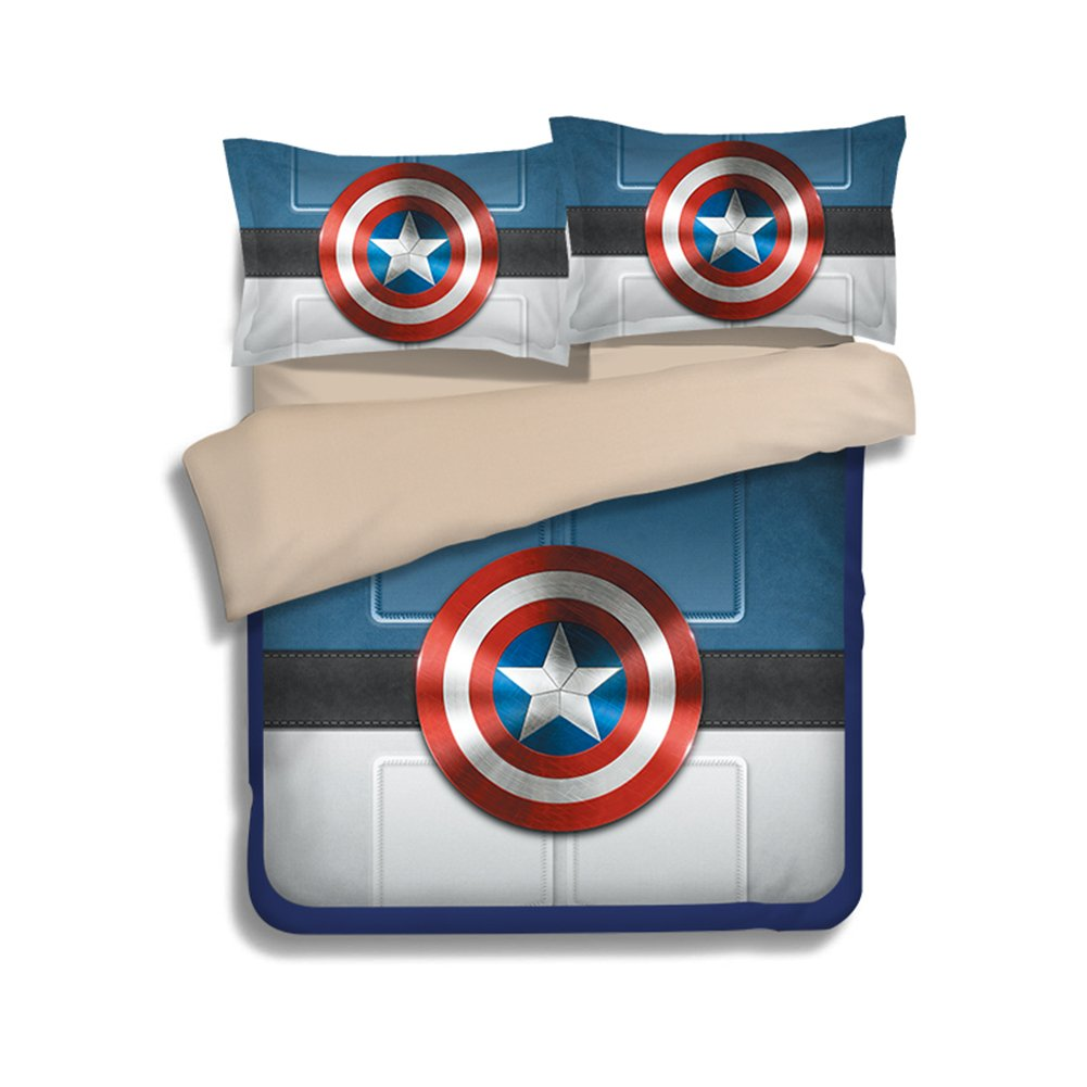 3D Shield Bedding Sets - Sport Do Best Gifts for Movie Funs 100% Polyester Skinclose Fitted Sheet 4PC Queen