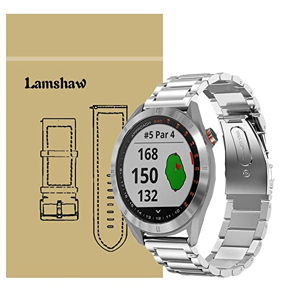 for Garmin Approach S40 Band, Lamshaw Stainless Steel Metal Replacement Straps for Garmin Approach S40 Stylish GPS Golf Smartwatch (Silver)