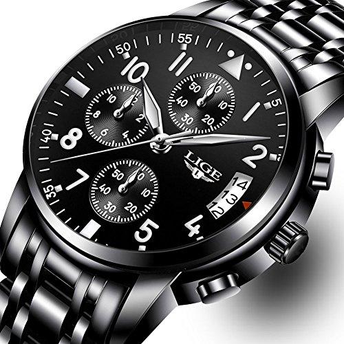 Mens Watches,LIGE Chronograph luminous Analog Quartz Wrist Watches Waterproof Stainless steel all Black Watch for Men Date Black Watch