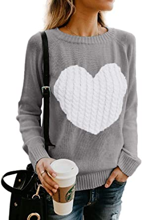 Gemijack Womens Sweaters Chunky Cable Knit Cute Heart Pullover Fall Winter Cardigan Tops