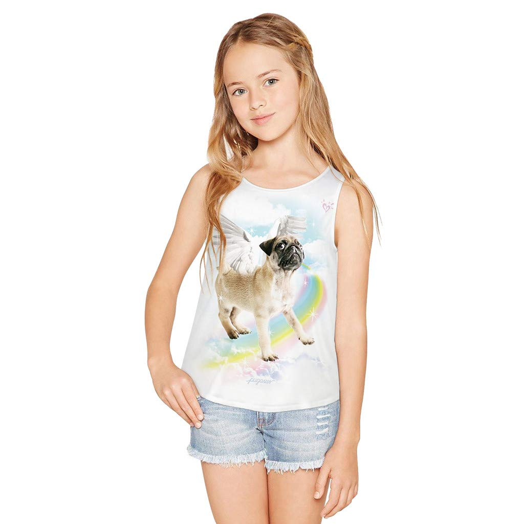 Lonshell Teen Toddler Kid Girl Sleeveless 3D Cartoon Print Cartoon Tops Casual Clothes Short Sleeved T-Shirt Vest Tops Cotton Vests Underwear For 8-12 Years