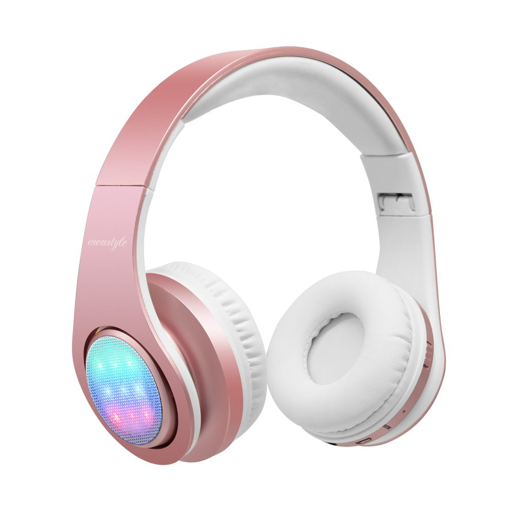 Esonstyle Bluetooth Headphone with 3 Led Light Mode Stereo Music Foldable Over-ear Hifi Sound Built in Mircophone Hands-free Wireless Calling for Smartphone,Tablet,PC,MAC and Laptop(Rose Gold)