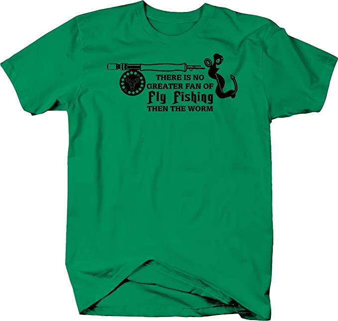 29f2bf6669 Amazon.com: Fly Fishing Fan Worm Rod & Reel Tshirt: Clothing