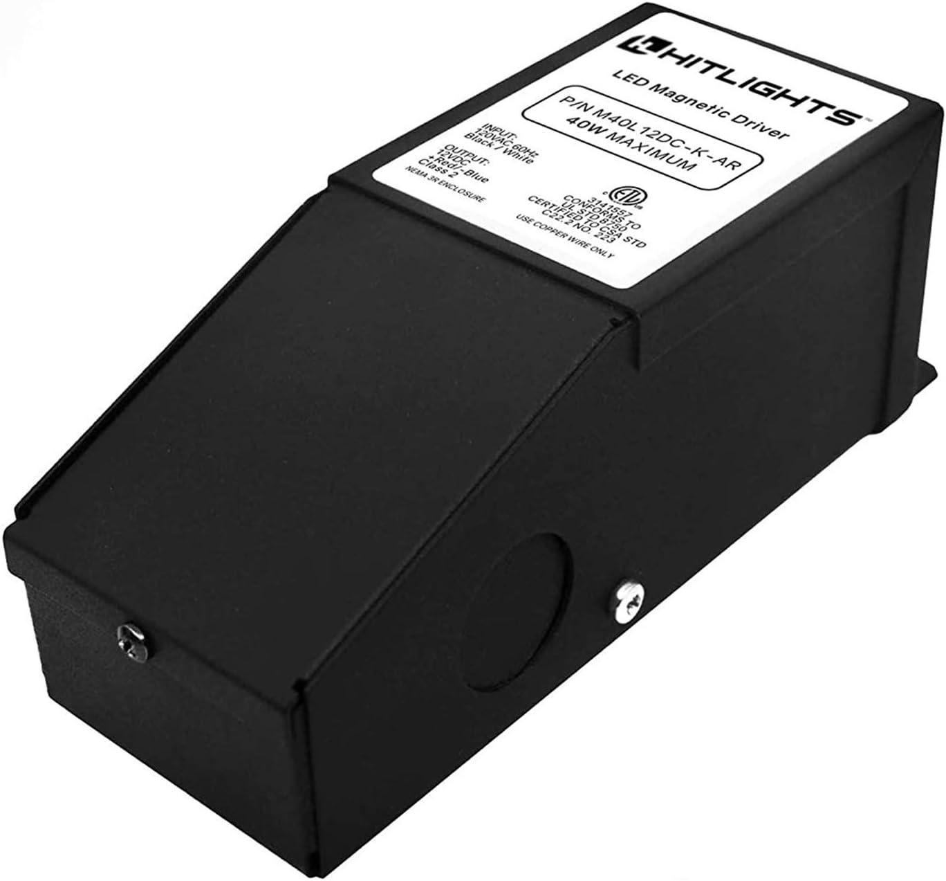 HITLIGHTS40 와트 디 밍이 가능한 LED 드라이버 12V 자기 전원 공급 장치-110V AC-12V DC LED 변압기. LED 지구 빛 일정한 전압 LED 제품을 위한 LUTRON 그리고 LEVITON 와 호환이 되는