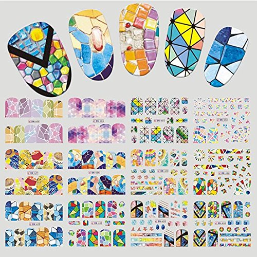 Gradient Marble 12 Designs Art Sticker Fashion Full Cover Image Decals Nail Transfer Water Foils Beauty Tool -