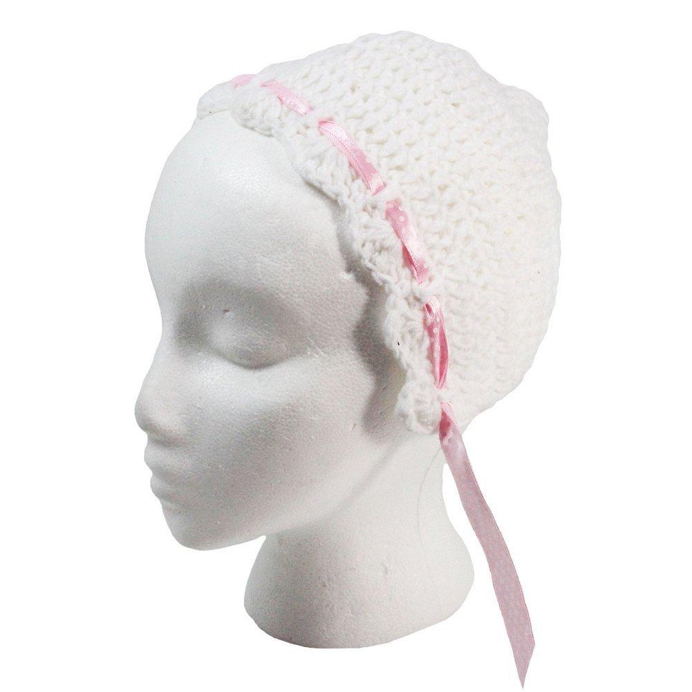 Little Girls White Pink Sweet Crochet Bonnet Hat 2-4 Years