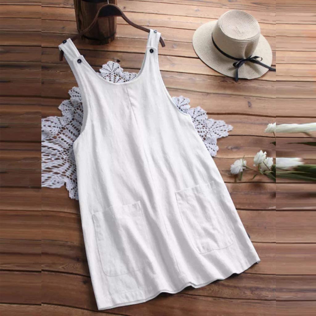 iHAZA Women Summer Cotton Sleeveless Pocket Solid Overalls Short Mini Dress Pinafore